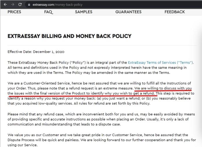 extraessay moneyback policy