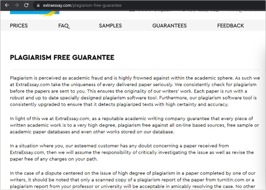 plagiarism free policy extraessay