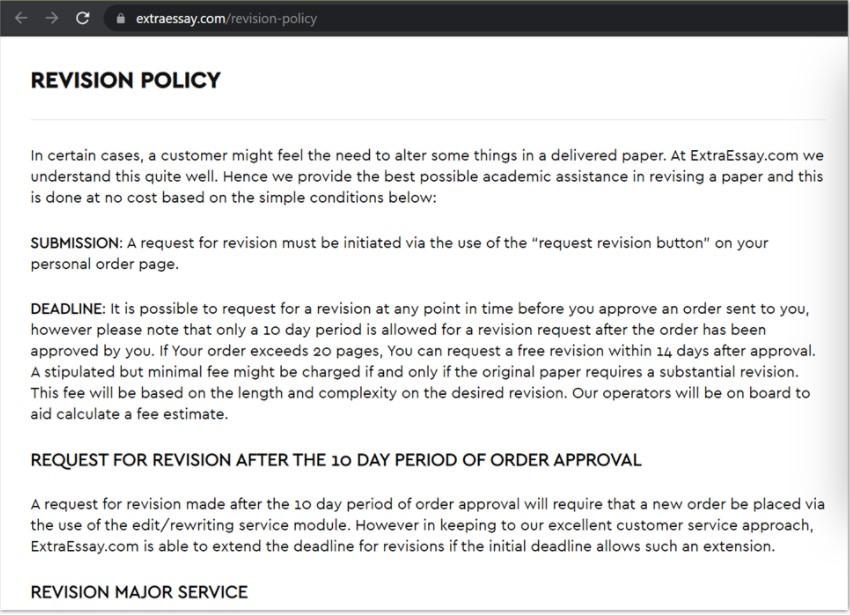 extraessay revision policy