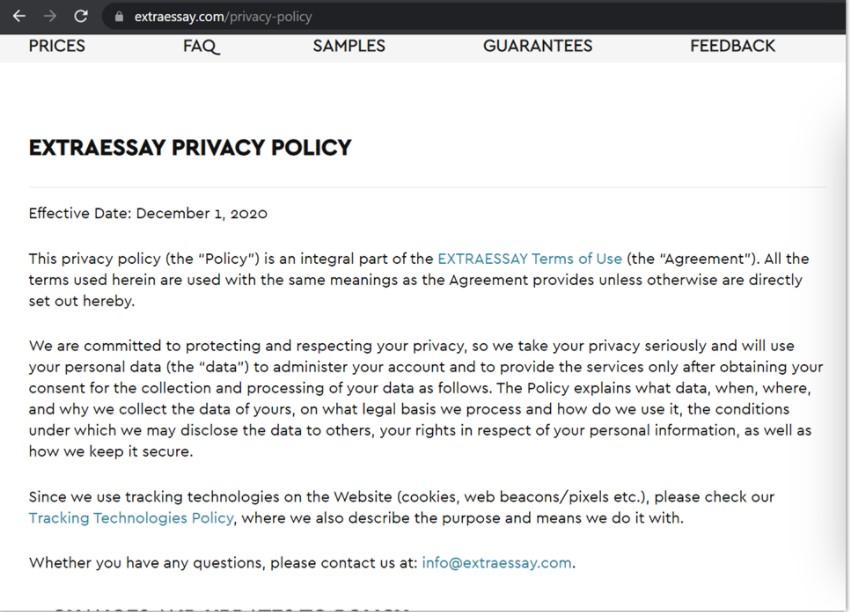 extraessay privacy policy