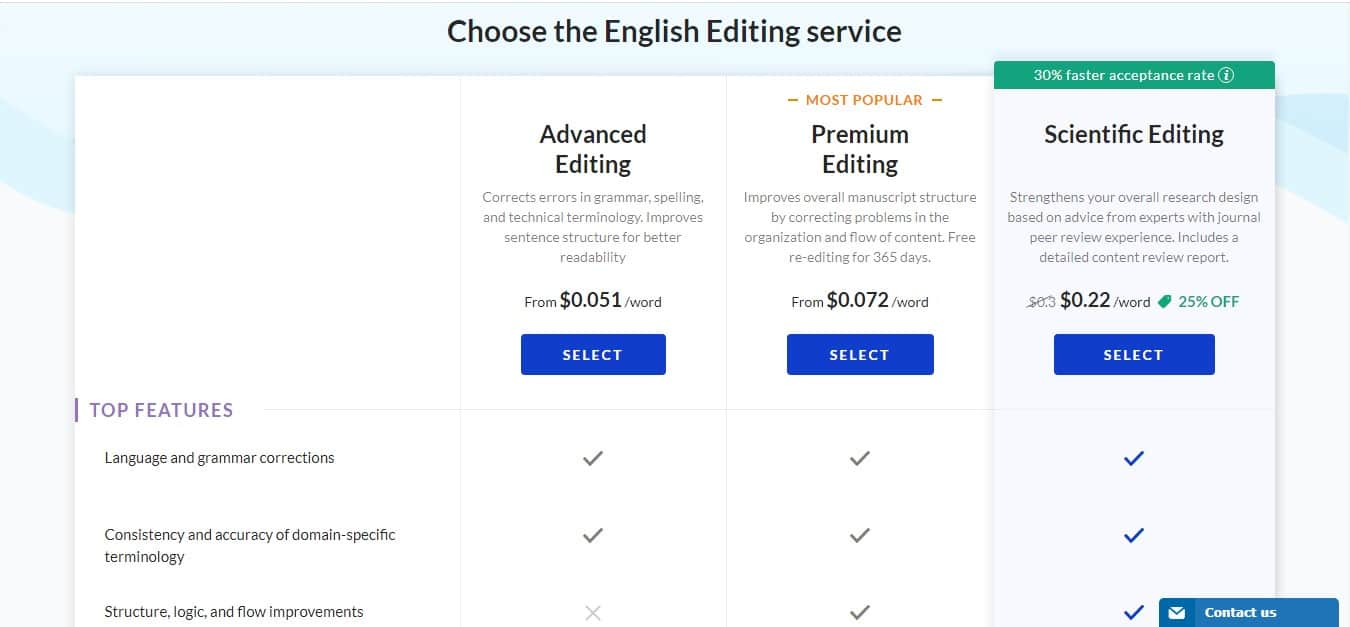 editage pricing