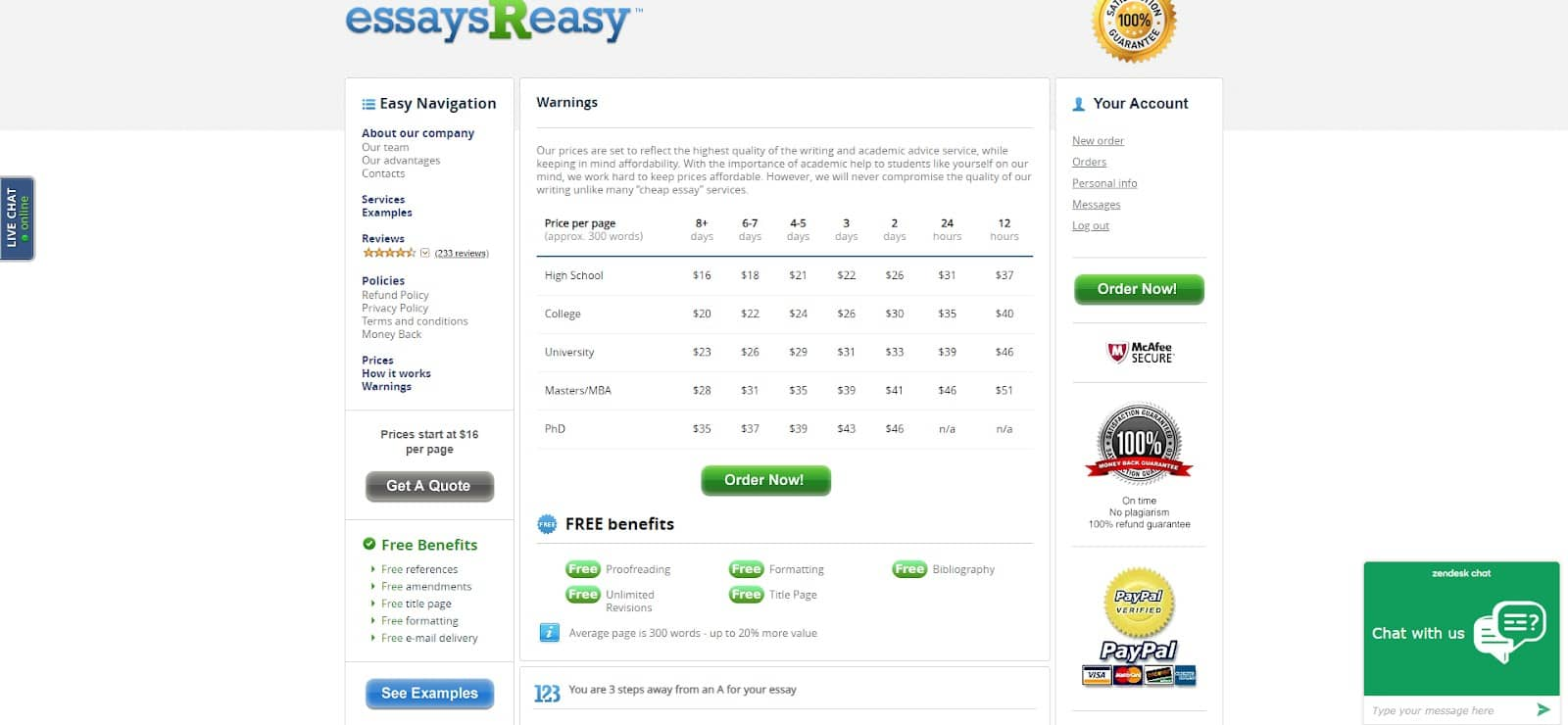 essaysreasy prices